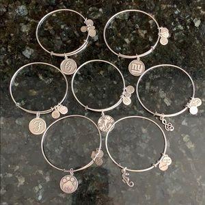 Alex and Ani bundle of silver bracelets